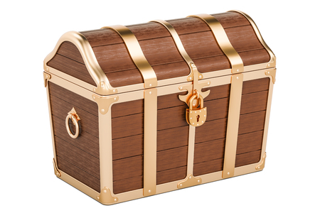Treasure chest, closed. 3D rendering isolated on white background