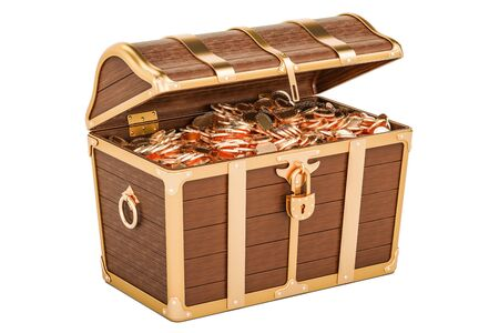 Treasure chest full of gold, 3D rendering isolated on white background