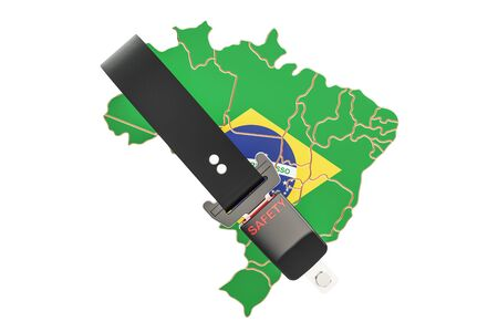 cinturon seguridad: Brazilian map with safety belt. Security and protect or insurance concept, 3D rendering