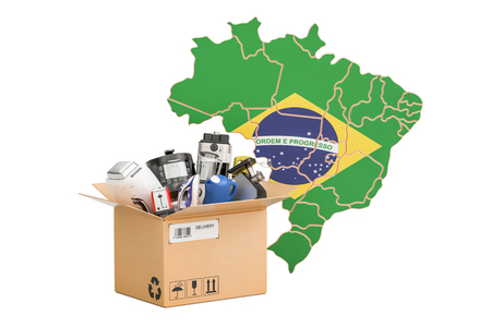 Production, shopping and delivery of household appliances from Brazil concept, 3D rendering isolated on white background Stock Photo