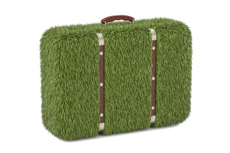 green suitcase from grass, eco concept. 3D rendering isolated on white background