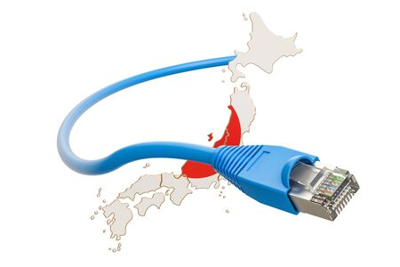 Internet connection in Japan concept. 3D rendering isolated on white background