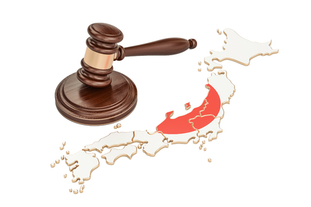 Wooden Gavel on map of Japan, 3D rendering isolated on white background Stock Photo