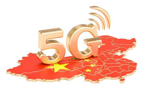 5G in het concept van China, het 3D teruggeven geïsoleerd op witte achtergrond