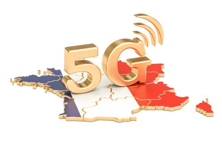 5G in France concept, 3D rendering isolated on white background