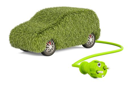 contamination: Electric car charging concept. Car from grass with electrical plug, 3D rendering isolated on white background