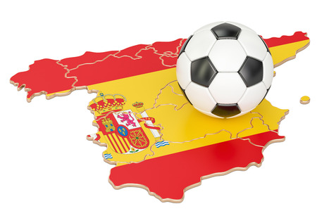 Football ball with map of Spain concept, 3D rendering Stock Photo