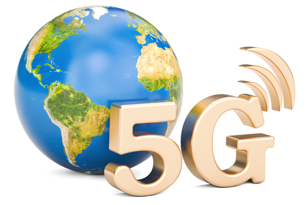 Global 5G concept, 3D rendering isolated on white background