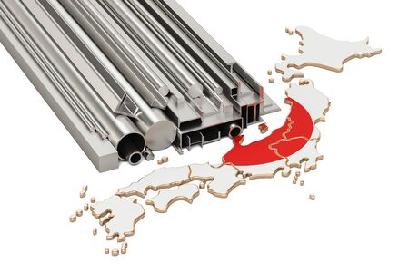 Production and trade of metal products in Japan, concept. 3D rendering isolated on white background