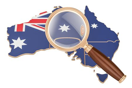 Australia under magnifying glass, analysis concept, 3D rendering isolated on white background