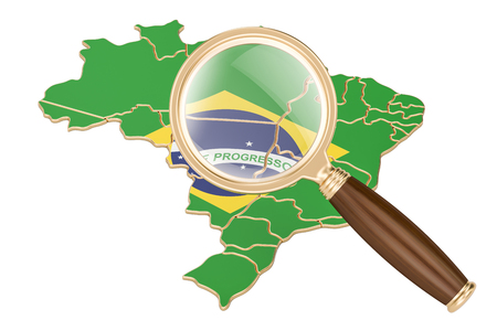 information analysis: Brazil under magnifying glass, analysis concept, 3D rendering isolated on white background