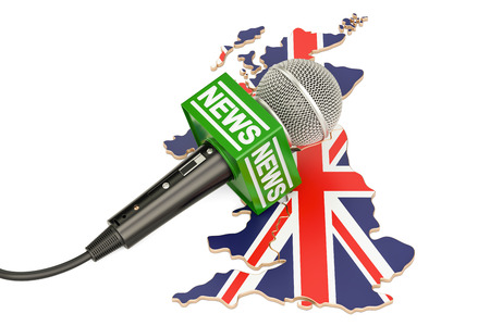 British News concept, microphone news on the map of United Kingdom. 3D rendering Stock Photo