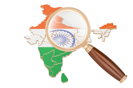 India under magnifying glass, analysis concept, 3D rendering isolated on white background Stock Photo