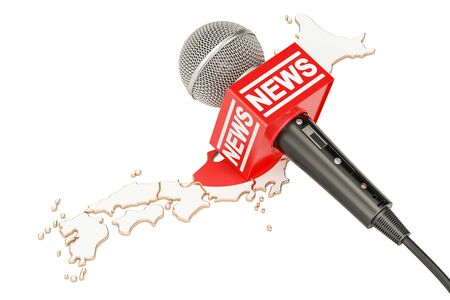 Japanese News concept, microphone news on the map of Japan. 3D rendering Stock Photo