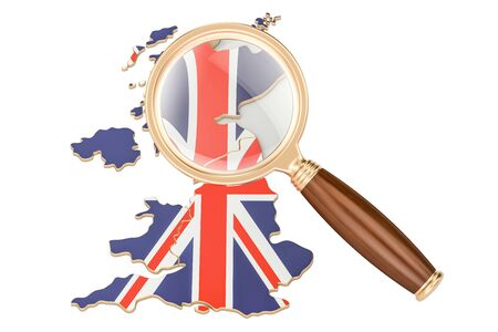 pc: United Kingdom under magnifying glass, analysis concept, 3D rendering isolated on white background