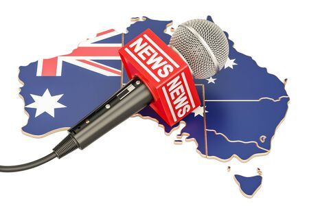 Australian News concept, microphone news on the map of Australia. 3D rendering