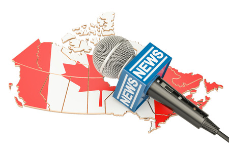 Canadian News concept, microphone news on the map of Canada. 3D rendering