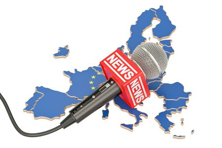European News concept, microphone news on the map of EU. 3D rendering