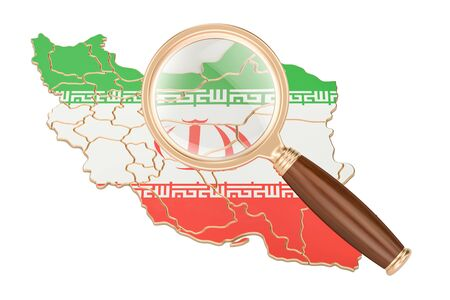 information analysis: Iran under magnifying glass, analysis concept, 3D rendering isolated on white background