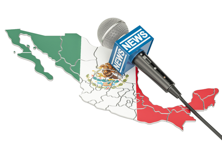 Mexican News concept, microphone news on the map of Mexico. 3D rendering