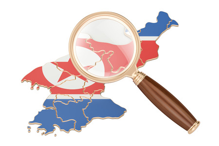 pc: North Korea under magnifying glass, analysis concept, 3D rendering isolated on white background Stock Photo