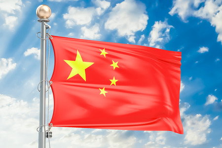 flagstaff: Chinese flag waving in blue cloudy sky, 3D rendering Stock Photo