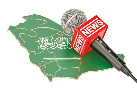 Saudi Arabia News concept, microphone news on the map. 3D rendering Stock Photo