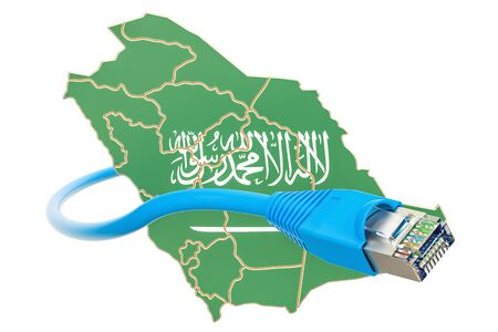 Internet connection in Saudi Arabia concept. 3D rendering isolated on white background