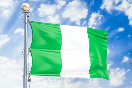 Nigerian flag waving in blue cloudy sky, 3D rendering