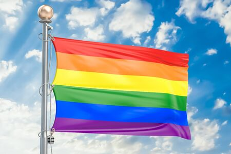 Rainbow flag LGBT flag waving in blue cloudy sky, 3D rendering Stock Photo