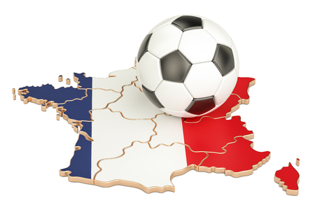 Football ball with map of France concept, 3D rendering