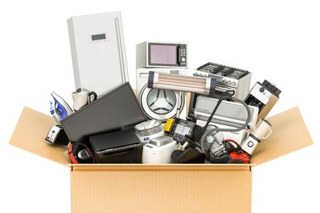 Pappschachtel mit Haushalts- und Küchengeräten, Einkaufs- und Lieferungskonzept. 3D-Rendering Standard-Bild - 82978472