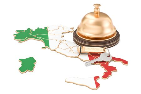Italy booking concept. Italian flag with hotel key and reception bell, 3D rendering Stock Photo