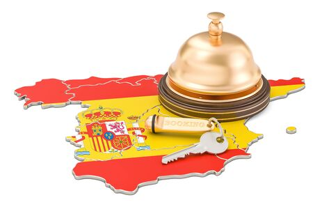 Spain booking concept. Spanish flag with hotel key and reception bell, 3D rendering