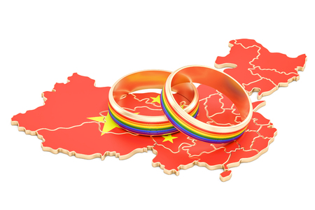 Chinese map with LGBT rainbow rings, 3D rendering