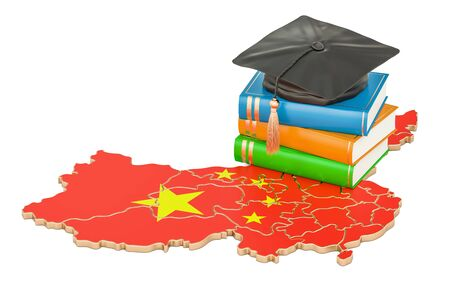 Education in China concept, 3D rendering isolated on white background