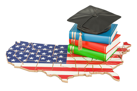 Education  in USA concept, 3D rendering isolated on white background Stock Photo