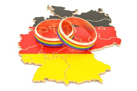 German map with LGBT rainbow rings, 3D rendering