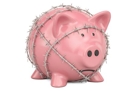 Piggy Bank with barbed wire, 3D rendering isolated on white background