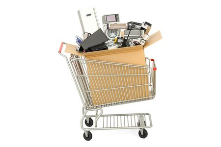 meat grinder: Shopping cart with household and kitchen appliances, 3D rendering Stock Photo