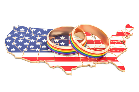 United States map with LGBT rainbow rings, 3D rendering