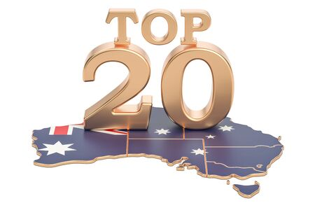 Australian Top 20 concept, 3D rendering isolated on white background