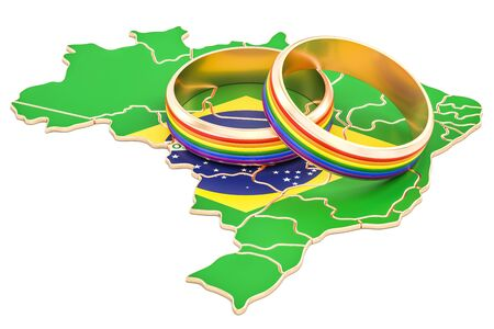 Brazilian map with LGBT rainbow rings, 3D rendering Stock Photo