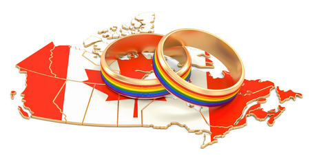 Canadian map with LGBT rainbow rings, 3D rendering Stock Photo