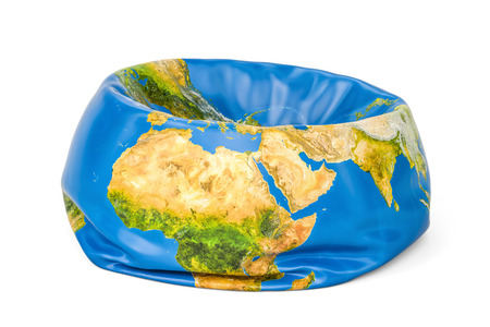 pumped: Deflated Earth Globe, 3D rendering isolated on white background