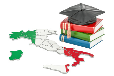 Education in Italy concept, 3D rendering isolated on white background