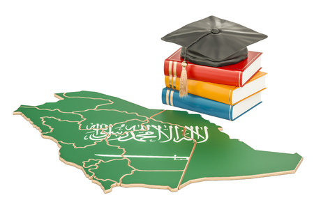 Education in Saudi Arabia concept, 3D rendering isolated on white background