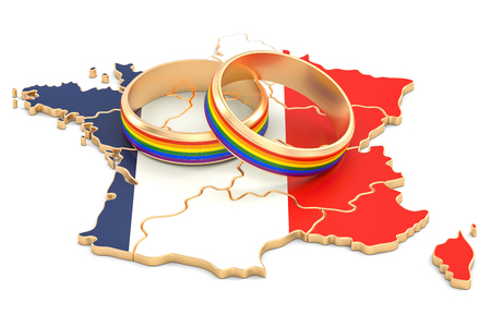 French map with LGBT rainbow rings, 3D rendering