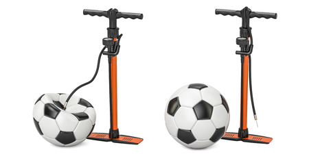 High pressure hand pumps with inflated and deflated soccer balls, 3D rendering
