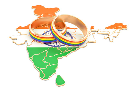 Indian map with LGBT rainbow rings, 3D rendering